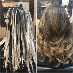 Balayage color application. Brown balayage hair color. Olaplex keeps the hair healthy and soft before during and after application. #HairbyDoriStein