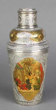 "Lot 545, An early 20th Century Persian silver cocktail shaker with decorated polychrome view of figures before pavilions 400 grams 8"", est £100-150"
