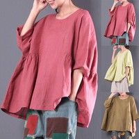 Color:Rose,Beige,Coffee Size:L,XL,2XL,3XL,4XL,5XL Material:Cotton Sleeve Style:3/4 Sleeve Occasi