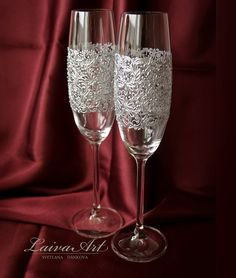 Silver Wedding Champagne Flutes Wedding Champagne by LaivaArt