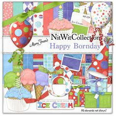 Digital scrapbooking birthday and card making kit birthday Happy Bornday Kit