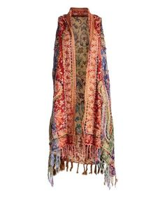 Love this Red & Purple Arabesque Fringe Open Vest - Women on #zulily! #zulilyfinds