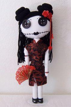 Geisha Gothic Rag Doll by MandysStitchery on Etsy,
