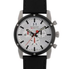 Mondaine: We love these Swiss made quality watches - ALWAYS OPT for a good watch maker over fashion a watch Cool Watches, Watches For Men, Swiss Railways, Bloomsbury, Chronograph, Diamond Engagement Rings, Bracelet Watch, Black Leather, Wedding Rings