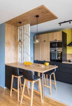 Cuisine ouverte sur salon réussie : 20 astuces - Clem Around The Corner - Home Decor Kitchen Room Design, Modern Kitchen Design, Interior Design Kitchen, Kitchen Ideas, Diy Kitchen, Open Kitchen, Rustic Kitchen, Kitchen Small, Kitchen Backsplash