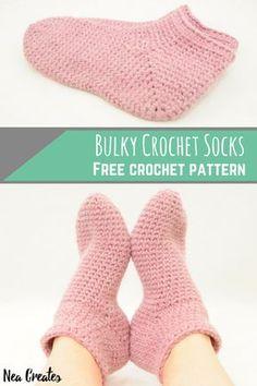 Bulky Crochet Socks: Free Crochet Pattern | Nea Creates