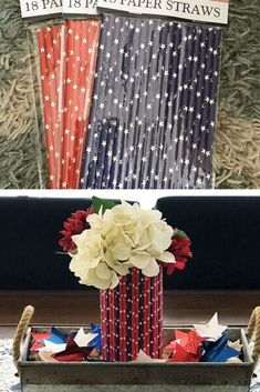 Quick vase upgrade you can do for fourth of july decorations for cheap. This Dollar Tree Patriotic Straw Vase is one of the easiest DIY's EVER. Halloween Dorm, Kids Office, Thanksgiving Baby, Wedding With Kids, Rustic Walls, Christmas Wedding, Table Centerpieces, Dollar Tree, Fourth Of July