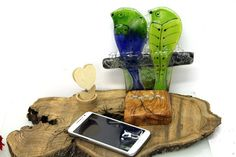 Cell Phone Accessories Fused glass Birds Figure by virtulyglass
