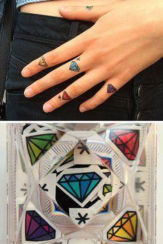Diamond Tiny temporary tattoos. 35+