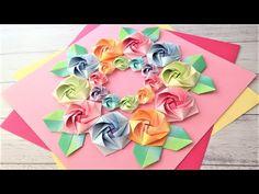 折り紙 バラの花 リース 折り方3 Origami rose flower wreath tutorial(niceno1) - YouTube Origami Wreath, Mandala, Wreaths, Youtube, Earrings, Paper Scraps, Tulip, Kids, Ear Rings