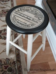 Mom's Stool Makeover with befitting Apothecary Label Seat | The Interior Frugalista