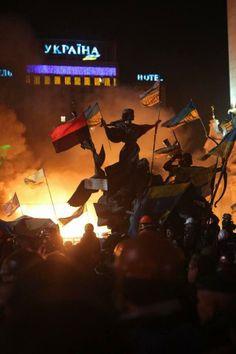 Kyiv, Ukraine on fire 18th February 2014.