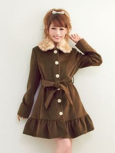 Cute, gyaru: Brown coat with frills and animal print collar.