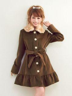 Cute, gyaru: Brown coat with frills and animal print collar.