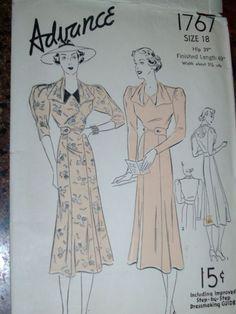VTG ART DECO Dress sewing pattern - Size 18 Complete - ADVANCE #1767