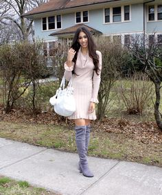 Rose Quartz + Dressing the (2 Types) of Pear Shape - The Style Contour | rose quartz, color of the year, blush and grey outfit idea, spring outfit idea, how to dress your body shape, style tips, how to determine your body shape, blush color dress, grey over the knee boots
