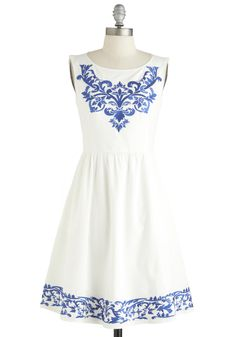 Seaside Serenade Dress - White, Blue, Embroidery, Pockets, A-line, Boat, Daytime Party, Vintage Inspired, French / Victorian, Sleeveless, Exclusives, Mid-length
