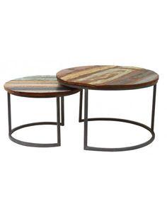 Set van 2 industriële salontafels rond - staal met sloophout