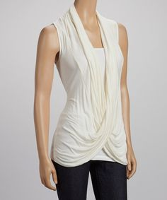 Take a look at the sun n moon White Lace-Back Crisscross Drape Top on #zulily today!