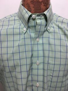 Brooks Brothers Mens L Green Blue Plaid Short-Sleeve Button Down Cotton Shirt #BrooksBrothers #ButtonFront