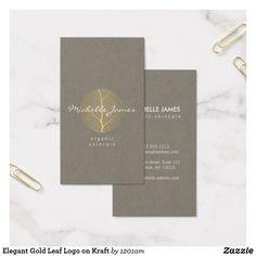 Vintage modern floral motif beauty salon kraft business card elegant gold leaf logo on kraft business card reheart Image collections