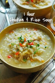 QUICK AND EASY CHICKEN AND RICE SOUP RECIPE. This 1 hour soup recipe uses leftover shredded chicken and rice for a fast healthy-dinner-recipe! Can also be made in your crockpot or slow cooker!