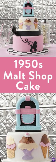 How to Make a 1950s Malt Shop Cake - The malt shop is where the fun of the '50s came together and it's all here on this exciting fondant cake! This  cake features what you'll see in a 1950s malt shop - a jukebox, ice cream sundae and shakes, and the popular poodle skirt that ladies wore during that era. Use the Wilton Decorator Preferred fondant to cover the cakes and to create all the fun details.