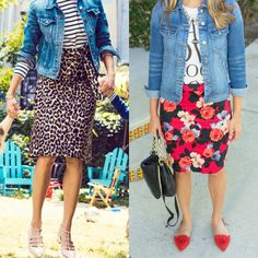 Pencil skirts: not just for high heels or the office!! Inspired by a catalog to try mine with jean jacket and flats!! [[Link in profile.]] #denimjacket #floralprint #pencilskirt #looksforless #lookforless #budgetfashion #teacherstyle #redshoes