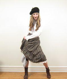 Vintage 1980s Prairie Skirt in Striped Cotton Wool by BasyaBerkman, $46.00