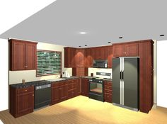 Kitchen, : Cool L Shaped Kitchen Layout Ideas In Design With Brown Wooden  Kitchen Furniture And Dark Color Scheme Kitchen Refrigerator An. Part 84