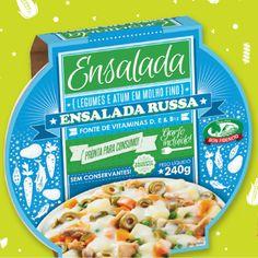 Ensalada Russa: atum em molho fino e legumes (batata, ervilha, cenoura, azeitona verde fatiada).