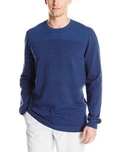 024b4c4e059 Men Golf Clothing - adidas Golf Mens Adi 3 Stripe Crewneck Sweater St Dark  Slate Large
