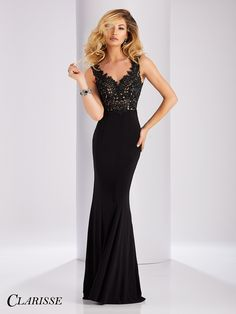 Clarisse Lace V-Neck long black Prom Dress 3108 | Promgirl.net