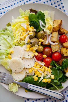 hearts of palm, corn, tomatoes, and watercress salad