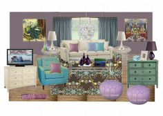 purple blue teal living room virtual design by The Decorologist