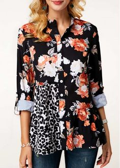 Mothers Day Gifts Ideas Womens Casual Tops Long Sleeve Flower Print Button Up Blouse Trendy Tops For Women, Blouses For Women, Criss Cross, Long Sleeve Tops, Long Sleeve Shirts, Long Blouse, How To Roll Sleeves, Blouse Styles, Blouse Designs