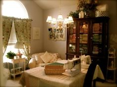 Soft and inviting sewing room