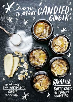 Homemade Candied Ginger from Shutterbean Healthy Dessert Recipes, Candy Recipes, Sweet Recipes, Holiday Recipes, Delicious Desserts, Yummy Food, Christmas Recipes, Ginger Benefits, Homemade Candies