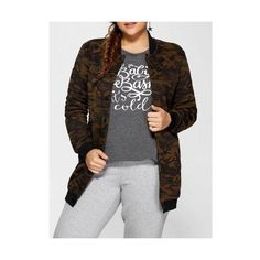 Double Pockets Fleece Camo Print Coat found on Polyvore featuring women's fashion, outerwear and coats