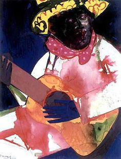 """""""Jefferson Cooley's Evening Guitar"""" (1986) from the Mecklenburg: Morning and Evening series. Collage with watercolor and ink."""