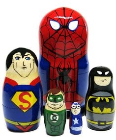 Great Russian Gifts Superman Superhero RED 5-Piece 4.5 Toy Collection Nesting Doll Set