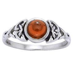 Celtic Knot Ring Simulated Orange Amber Sterling Silver