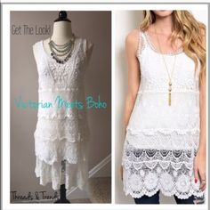 SOLD @karareeder Get this unique look! Victorian crochet lace tunic meets some boho charm. Size large. Finish off the look with a lace extender. White lace extender size large. Threads & Trends Tops Tunics