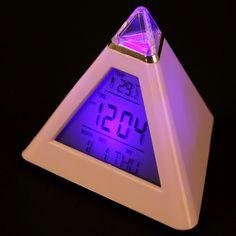 Clocks Alarm Clocks Hearty Changing Led Digital Alarm Clock Pyramid Colorful Clock Calendar Thermometer Time Home Decoration 7 Colors Table Desktop Clocks Comfortable Feel