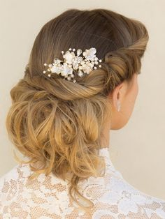 "Elegant Champagne Rhinestone & Pearl Floral Bridal Hair Comb ~ ""Shauna""…"
