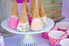 Pretty dipped ice cream cones at a Circus party! See more party ideas at CatchMyParty.com! #partyideas #circus