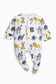 Buy Ochre/Cream Monkey Sleepsuits Three Pack (0mths-2yrs) from the Next UK online shop