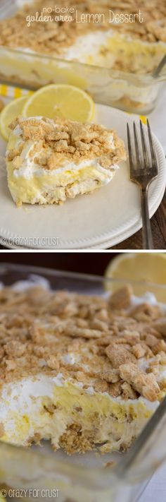 Easy No Bake Layered Lemon Dessert made with lemon curd, pudding, and Golden Oreos! The perfect summer potluck no bake dessert!