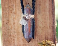 Tigers Eye Necklace - Black Braided Leather Crystal Double Terminated Point Feather Prism Pendant