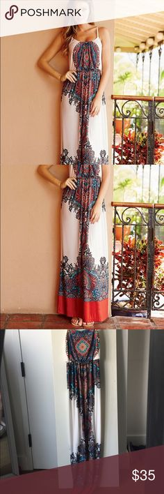 Red/cream paisley print maxi dress Adorable paisley print maxi dress, flexible material, long, and comfy ALLOY Dresses Maxi